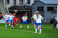 Natasha Harding of Wales Women's scores her side's third goal during the UEFA Women's EURO 2022 Qualifier match between Wales Women and Faroe Islands Women at Rodney Parade in Newport, Wales, UK. Thursday 22 October 2020