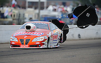 Aug. 20, 2011; Brainerd, MN, USA: NHRA pro stock driver Jason Line during qualifying for the Lucas Oil Nationals at Brainerd International Raceway. Mandatory Credit: Mark J. Rebilas-