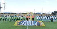 BOGOTÁ -COLOMBIA, 27-07-2018: Jugadores de Equidad y Jaguares durante los actos protocolarios previo al encuentro entre La Equidad y Jaguares de Córdoba por la fecha 2 de la Liga Águila II 2018 jugado en el estadio Metropolitano de Techo de la ciudad de Bogotá. / Players of Equidad and Jaguares during formal events prior the match for the date 2 between La Equidad and Jaguares de Cordoba for the quarterfinals of the Aguila League II 2018 played at Metropolitano de Techo stadium in Bogotá city. Photo: VizzorImage/ Gabriel Aponte / Staff