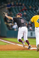 Texas A&M Aggies first baseman Logan Nottebrok (8) prepares to catch a throw during the Houston College Classic against the Baylor Bears on March 8, 2015 at Minute Maid Park in Houston, Texas. Texas A&M defeated Baylor 3-2. (Andrew Woolley/Four Seam Images)