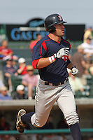 Right fielder Ryan Kalish of the Salem Red Sox running to first base during a game against  the Myrtle Beach Pelicans on May 3, 2009