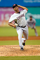 Pitcher Juan Mejia (7) of the Hickory Crawdads in a game against the Greenville Drive on Tuesday, August 24, 2021, at Fluor Field at the West End in Greenville, South Carolina. (Tom Priddy/Four Seam Images)