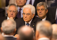Il Presidente della Repubblica Sergio Mattarella durante la Conferenza degli Ambasciatori alla Farnesina, Roma, 27 luglio 2015.<br /> Italian President Sergio Mattarella attends the Conference of Italian Ambassadors, at the Foreign Ministry headquarters in Rome 27 July 2015.<br /> UPDATE IMAGES PRESS/Riccardo De Luca