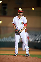 Florida Fire Frogs relief pitcher Chad Sobotka (32) gets ready to deliver a pitch during a game against the Palm Beach Cardinals on May 1, 2018 at Osceola County Stadium in Kissimmee, Florida.  Florida defeated Palm Beach 3-2.  (Mike Janes/Four Seam Images)