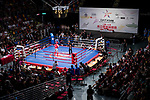 A general view of the Queen Elizabeth Stadium during the male muay 48KG division weight bout between Yang Wen He (Red) of Taiwan fights against You Tat Fai (Blue) of Hong Kong at the East Asian Muaythai Championships 2017 at the Queen Elizabeth Stadium on 13 August 2017, in Hong Kong, China. Photo by Yu Chun Christopher Wong / Power Sport Images