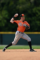 Baltimore Orioles Steve Wilkerson (16) during a minor league spring training game against the Boston Red Sox on March 20, 2015 at the Buck O'Neil Complex in Sarasota, Florida.  (Mike Janes/Four Seam Images)
