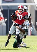 ATHENS, GA - SEPTEMBER 11: Kearis Jackson #10 is tackled by Kyle Harrell #31 during a game a game between University of Alabama Birmingham Blazers and University of Georgia Bulldogs at Sanford Stadium on September 11, 2021 in Athens, Georgia.