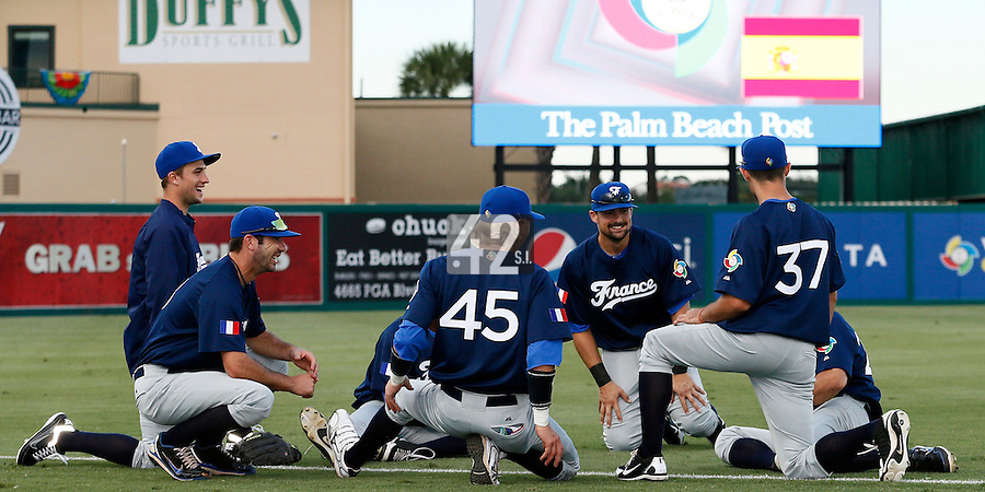 20 September 2012: Quentin Pourcel, Pierrick Le Mestre, Luc Piquet, Florian Peyrichou are seen prior to Spain 8-0 win over France, at the 2012 World Baseball Classic Qualifier round, in Jupiter, Florida, USA.