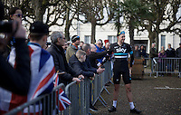 Ian Stannard (GBR/Sky) chatting to some acquaintances at the start<br /> <br /> 114th Paris-Roubaix 2016