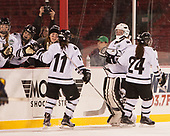 Julie Dachille (Bowdoin - 11), Kerri St. Denis (Bowdoin - 29), Brooke Solomon (Bowdoin - 24) - The Babson College Polar Bears defeated the Connecticut College Camels 3-0 on Thursday, January 12, 2017, at Fenway Park in Boston, Massachusetts.