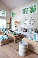 cottage style living room<br /> <br /> Small three bedroom house, guesthouse, boathouse and pool pavilion located on five acres at Davis Creek on Little Peconic Bay in Southhampton New York.