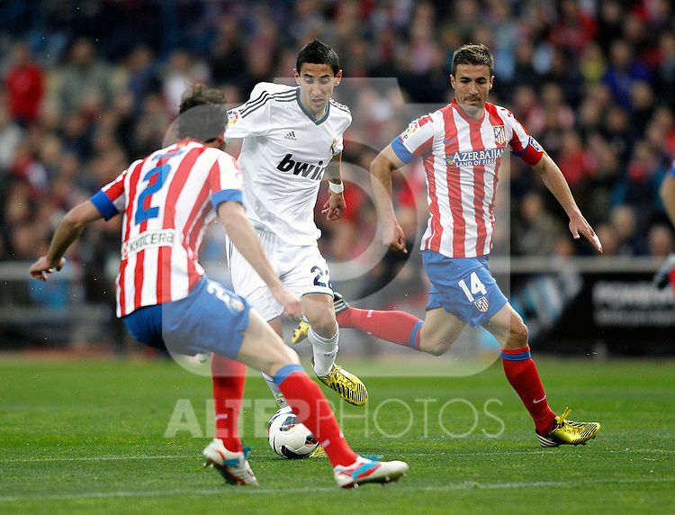 Real Madrid's Di Maria Atletico's Godin, Gabi  during La Liga BBVA match. April 27, 2013.(ALTERPHOTOS/Alconada)