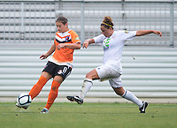 Ashley Braam (8) of the Charlotte Lady Eagles sprints away from Diana Marinara (3) of the Long Island Rough Riders during the game at the Maryland SoccerPlex in Boyds, Maryland.  The Charlotte Lady eagles defeated the Long Island Rough Riders, 4-0, to advance to the W-League Eastern Conference Championship.
