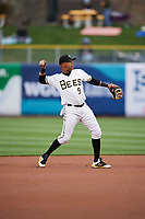 Jose Miguel Fernandez (9) of the Salt Lake Bees during the game against the Albuquerque Isotopes at Smith's Ballpark on April 5, 2018 in Salt Lake City, Utah. Salt Lake defeated Albuquerque 9-3. (Stephen Smith/Four Seam Images)