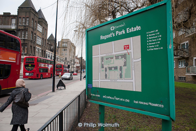Camden Council's Regent's Park Estate, where more than 300 homes will be demolished to make way for the HS2 London-Birmingham high speed railway development.  The estate has a high proportion of Bangladeshi residents.