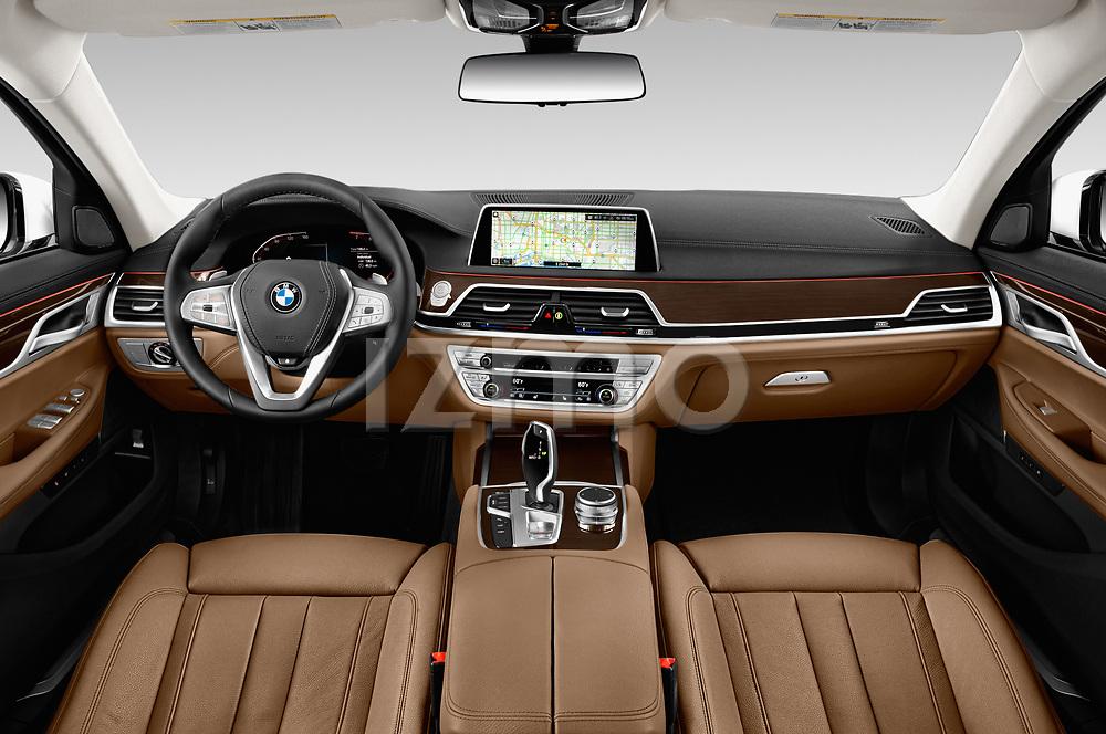 Stock photo of straight dashboard view of a 2020 BMW 7 Series 740i Luxury 4 Door Sedan