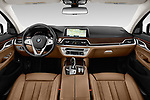 Stock photo of straight dashboard view of a 2020 BMW 7 Series 740i Luxury 4 Door Sedan