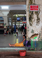 Life at the Yangon Railway Station, Yangon, Myanmar, Burma