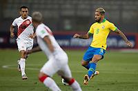 13th October 2020; National Stadium of Peru, Lima, Peru; FIFA World Cup 2022 qualifying; Peru versus Brazil;  Douglas Luiz of Brazil plays the ball through midfield