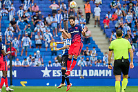12th September 2021: Barcelona, Spain:  Felipe of Atletico de Madrid climbs to win the clearing header during the Liga match between RCD Espanyol and Atletico de Madrid at RCDE Stadium in Cornella, Spain.