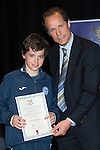 St Johnstone FC Youth Academy Presentation Night at Perth Concert Hall..21.04.14<br /> Alec Cleland presents to Oliver Hamilton<br /> Picture by Graeme Hart.<br /> Copyright Perthshire Picture Agency<br /> Tel: 01738 623350  Mobile: 07990 594431