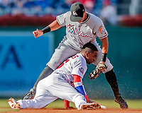 26 September 2018: Washington Nationals outfielder Victor Robles steals second base in the first inning against the Miami Marlins at Nationals Park in Washington, DC. The Nationals defeated the visiting Marlins 9-3, closing out Washington's 2018 home season. Mandatory Credit: Ed Wolfstein Photo *** RAW (NEF) Image File Available ***