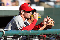 April 10, 2010:  First overall draft pick of the 2009 MLB Draft Stephen Strasburg (37) takes a drink as he watches the game a day before making his professional debut with the Harrisburg Senators, Double-A affilicate of the Washington Nationals, at Blair County Ballpark in Altoona, PA.  Photo By Mike Janes/Four Seam Images