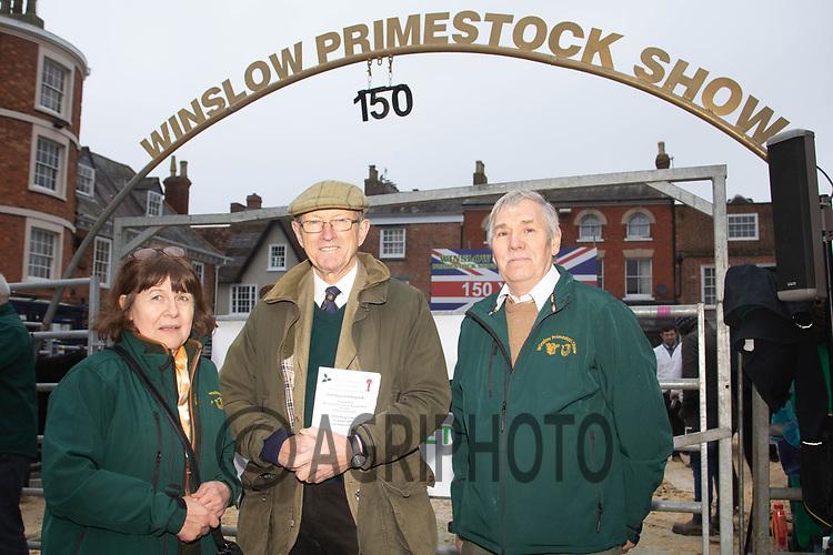 Winslow Christmas Fatstock Show<br /> Pauline Claridge, Sir Herbert Aubrey-Fletcher and John Claridge <br />  ©Tim Scrivener Photographer 07850 303986<br />      ....Covering Agriculture In The UK....