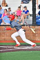 Johnson City Cardinals center fielder Jonatan Machado (51) swings at a pitch during a game against the Pulaski Yankees at TVA Credit Union Ballpark on July 7, 2018 in Johnson City, Tennessee. The Cardinals defeated the Yankees 7-3. (Tony Farlow/Four Seam Images)