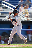 Mahoning Valley Scrappers designated hitter Francisco Mejia (27) at bat during a game against the Batavia Muckdogs on August 24, 2014 at Dwyer Stadium in Batavia, New York.  Mahoning Valley defeated Batavia 7-6.  (Mike Janes/Four Seam Images)