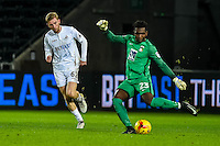 Reice Charles-Cook of Coventry City clears the ball during the EFL Checkatrade Trophy Quarterfinal Match between Swansea City U21 and Coventry City at the Liberty Stadium, Swansea on January 24, 2017