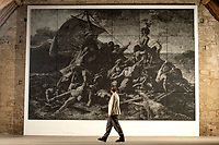 BNPS.co.uk (01202) 558833.<br /> Pic: Zachary Culpin/BNPS<br /> <br /> An epic new monochrome version of Théodore Géricault's 'Raft of the Medusa' has gone on display at Messums Wiltshire in Tisbury.<br /> <br /> The new rendition by Welsh Artist John Beard is the same size as the 24-foot-long, 1818, original<br /> that hangs in the Louvre in Paris<br /> <br /> It's described as 'One of the world's most harrowing images of human desperation'. It depicts the aftermath of the wreck of the French naval frigate Méduse, which ran aground off the coast of Mauritania, in Africa on 2 July 1816.