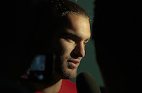 Glendale, AZ. - Tuesday, April 1, 2014: US Men's National team player Graham Zusi in the mix zone after the press conference at University of Phoenix Stadium.