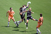 Sky Blue's goalkeeper Jenn Branam leaps high over LA Sol's McCall Zerboni for a save during the WPS Championship match. The Sky Blue FC defeated the LA Sol 1-0 to win the WPS Final Championship match at Home Depot Center stadium in Carson, California on Saturday, August 22, 2009...