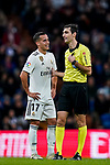 Referee Ricardo de Burgos Bengoetxea (R) talks with Lucas Vazquez of Real Madrid during the La Liga 2018-19 match between Real Madrid and Rayo Vallencano at Estadio Santiago Bernabeu on December 15 2018 in Madrid, Spain. Photo by Diego Souto / Power Sport Images