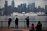 NEW YORK, NY -- MARCH 30, 2020:  The U.S. Navy Ship Comfort, a floating hospital with 1,000 beds and 12 operation rooms, arrives to support the overtaxed health care system, on March 30, 2020, in New York City. PHOTOGRAPH BY MICHAEL NAGLE