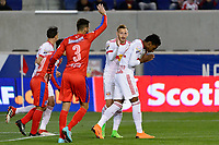 Harrison, NJ - Thursday March 01, 2018: Michael Murillo, Daniel Royer. The New York Red Bulls defeated C.D. Olimpia 2-0 (3-1 on aggregate) during a 2018 CONCACAF Champions League Round of 16 match at Red Bull Arena.