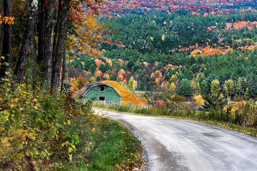 Unpaved country road with autumn foliage, Vermont, USA.