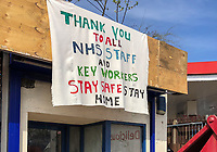 High Wycombe, UK. 16th April, 2020.<br /> A banner thanking NHS & Key workers during the Covid-19 Pandemic as the UK Government advice to maintain social distancing and minimise time outside in High Wycombe on 16 April 2020. Photo by PRiME Media Images