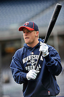 Apr 07, 2011; Bronx, NY, USA; Minnesota Twins infielder Matt Tolbert (20) during game against the New York Yankees at Yankee Stadium. Yankees defeated the Twins 4-3. Mandatory Credit: Tomasso DeRosa/ .Four Seam Images