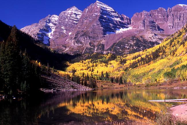 Maroon Bells with fall Aspen trees, Colorado
