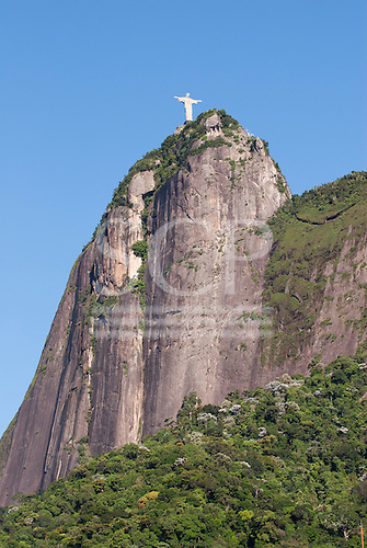 Rio de Janeiro, Brazil. The Christ Statue and the Corcovado Mountain, showing its vertical face.