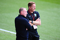 Steve Cooper Head Coach of Swansea City and Garry Monk Manager of Sheffield Wednesday speak prior to the Sky Bet Championship match between Swansea City and Sheffield Wednesday at the Liberty Stadium in Swansea, Wales, UK. Sunday 05 July 2020
