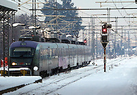 Pictured: A train in Larissa railway station, central Greece.<br />