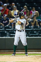 Emerson Landoni (36) of the Lynchburg Hillcats at bat against the Winston-Salem Dash at BB&T Ballpark on August 13, 2014 in Winston-Salem, North Carolina.  The Hillcats defeated the Dash 4-3.   (Brian Westerholt/Four Seam Images)