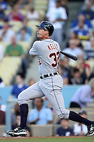 Detroit Tigers third baseman Don Kelly #32 bats against the Los Angeles Dodgers at Dodger Stadium on June 21, 2011 in Los Angeles,California. (Larry Goren/Four Seam Images)