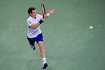 SHANGHAI, CHINA - OCTOBER 17:  Andy Murray of Great Britain returns a ball to Roger Federer of Switzerland during their singles final match during day seven of the 2010 Shanghai Rolex Masters at the Shanghai Qi Zhong Tennis Center on October 17, 2010 in Shanghai, China.  (Photo by Victor Fraile/The Power of Sport Images) *** Local Caption *** Andy Murray