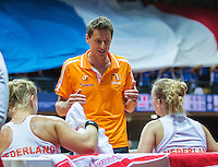 Arena Loire,  Trélazé,  France, 16 April, 2016, Semifinal FedCup, France-Netherlands, Doubles:  Hogenkamp Bertens (NED) are coaches by captain Paul Haarhuis<br /> Photo: Henk Koster/Tennisimages
