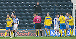 Kilmarnock v St Johnstone....03.03.12   SPL.Dean Shiels is booked for his follow up challeneg on Alan Mannus after missing his penalty.Picture by Graeme Hart..Copyright Perthshire Picture Agency.Tel: 01738 623350  Mobile: 07990 594431