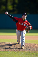 Logan Welch (28) of Reynolds High School in Winston-Salem, North Carolina playing for the Boston Red Sox scout team at the South Atlantic Border Battle at Doak Field on November 2, 2014.  (Brian Westerholt/Four Seam Images)